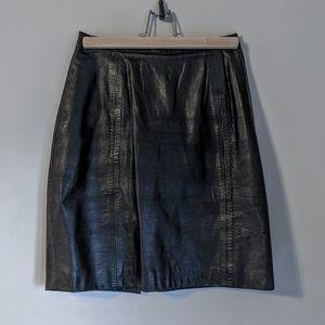Vintage button zip leather pencil mini skirt sz2-4